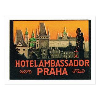 Cartão Postal Etiqueta do hotel da república checa de Praha das