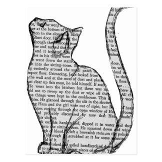 Cartão Postal etiqueta do livro de leitura do gato