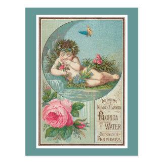 Cartão Postal Etiqueta do querubim e da água de Colônia dos