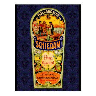 Cartão Postal Etiqueta do uísque da gim de SCHIEDAM de Rotterdam