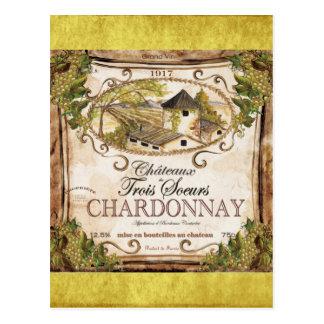 Cartão Postal Etiqueta do vinho francês do vintage