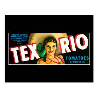 Cartão Postal Etiqueta dos tomates de Tex Rio do vintage