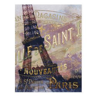 Cartão Postal Etiqueta e torre Eiffel do francês do vintage