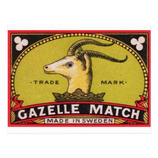Cartão Postal Etiqueta sueco da caixa de fósforos da gazela