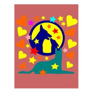 Cartão Postal étoilée de chien au clair de lune