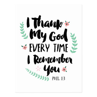 Cartão Postal Eu agradeço ao deus cada vez que eu o recordo