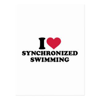 Cartão Postal Eu amo a natação sincronizada