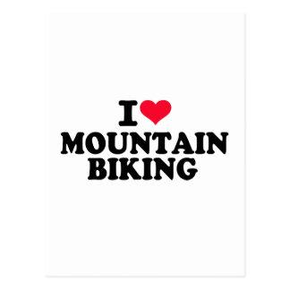 Cartão Postal Eu amo Biking da montanha