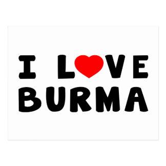 Cartão Postal Eu amo Burma