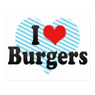 Cartão Postal Eu amo hamburgueres