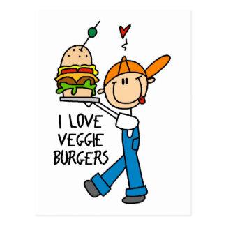 Cartão Postal Eu amo hamburgueres do vegetariano