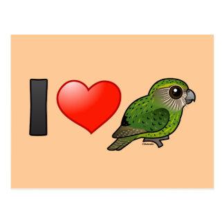 Cartão Postal Eu amo Kakapos