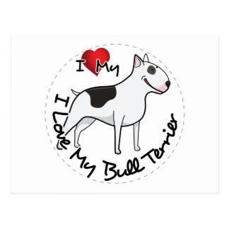 Cartão Postal Eu amo meu cão de bull terrier