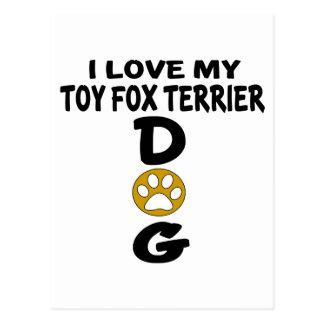 Cartão Postal Eu amo meu design do cão do Fox Terrier do