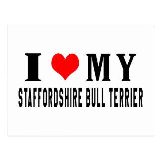 Cartão Postal Eu amo meu Staffordshire bull terrier