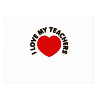 Cartão Postal Eu amo meus professores (o coração grande)