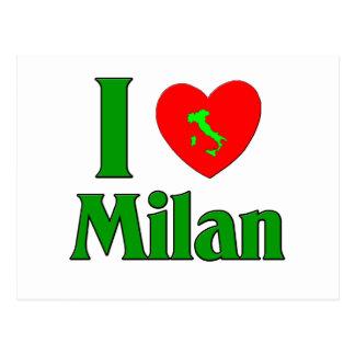 Cartão Postal Eu amo Milão Italia