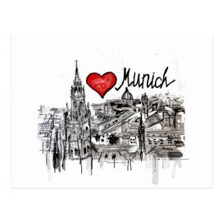 Cartão Postal Eu amo Munich