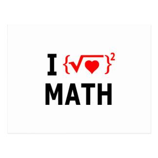 Cartão Postal Eu amo o branco da matemática