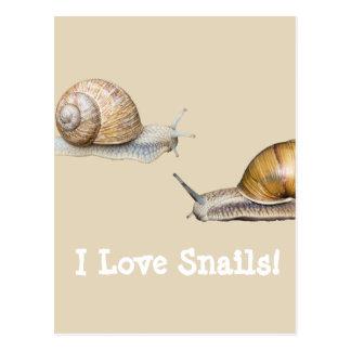 Cartão Postal Eu amo o design do caracol dos caracóis