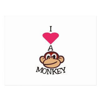 Cartão Postal Eu amo o macaco