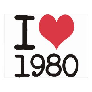 Cartão Postal Eu amo os produtos 1980 & o design!