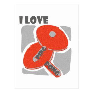 Cartão Postal Eu amo pás vermelhas selvagens de Pong do sibilo