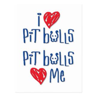 Cartão Postal Eu amo pitbull - os pitbull amam-me
