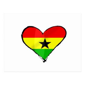 Cartão Postal Eu amo presentes ganeses do coração da bandeira de
