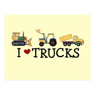 Cartão Postal Eu amo t-shirt e presentes dos caminhões
