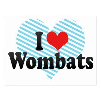 Cartão Postal Eu amo Wombats