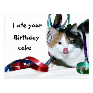 Cartão Postal Eu comi seu bolo de aniversário
