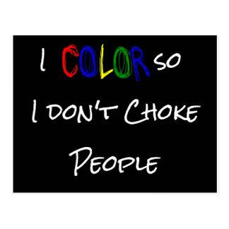 Cartão Postal eu-cor-assim-eu-dont-bloqueador-pessoas-preto