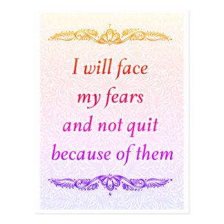 Cartão Postal Eu enfrentarei meus medos - Quote´s positivo