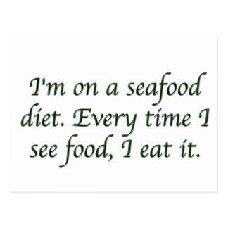 Cartão Postal Eu estou em uma dieta do marisco