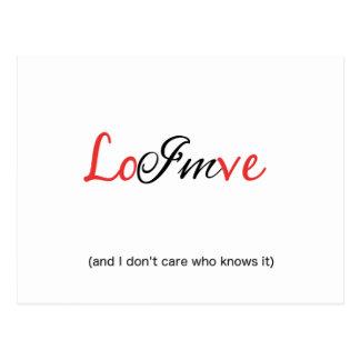 Cartão Postal Eu estou no amor (e no mim não se importe quem o