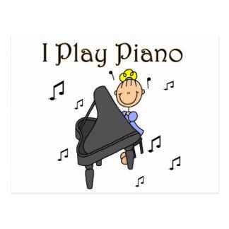 Cartão Postal Eu jogo t-shirt e presentes do piano
