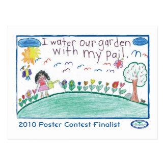 Cartão Postal Eu molho nosso jardim com meu balde