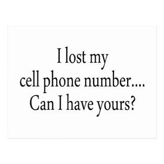 Cartão Postal Eu perdi meu número de telemóvel posso mim ter seu
