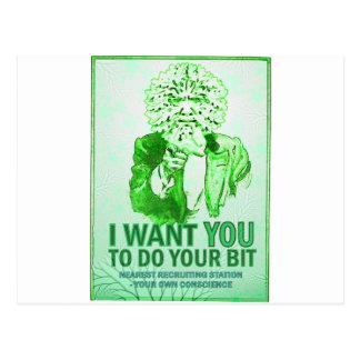 Cartão Postal Eu quero-o fazer seu bocado - o homem verde fala