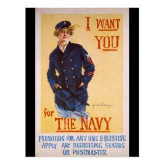 Cartão Postal Eu quero-o para o recrutamento da Primeira Guerra