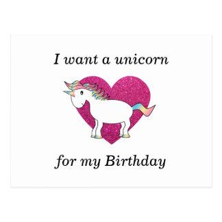 Cartão Postal Eu quero um unicórnio para meu aniversário