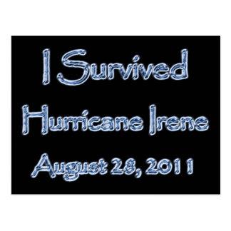 Cartão Postal Eu sobrevivi ao furacão Irene agosto 28,2011