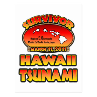 Cartão Postal Eu sobrevivi Havaí tsunami ao 3 de março de 2011