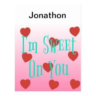 Cartão Postal Eu sou doce em você corações feitos sob encomenda