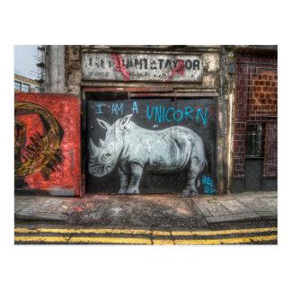 Cartão Postal Eu sou um unicórnio, grafite de Shoreditch