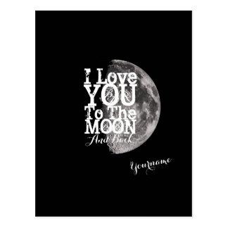 Cartão Postal Eu te amo à lua e à parte traseira