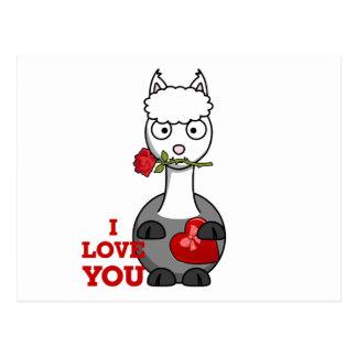 Cartão Postal eu te amo alpaca