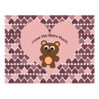 Cartão Postal Eu te amo Beary muito! Fundo do coração
