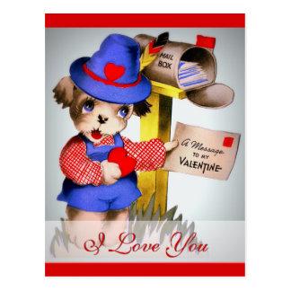 Cartão Postal Eu te amo caixa postal bonito do cão dos namorados